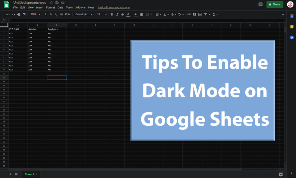 How to Enable Dark Mode on Google Sheets